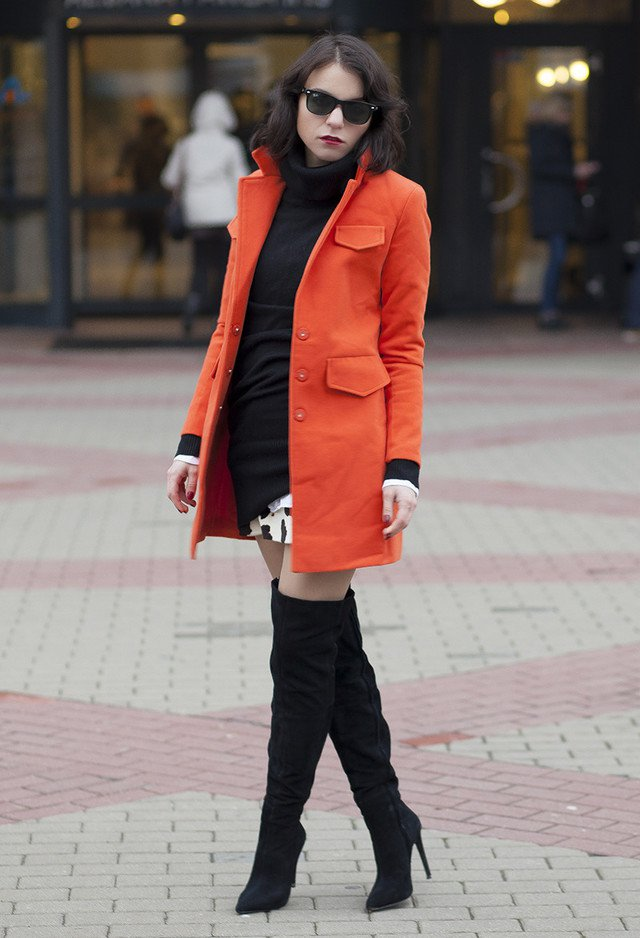 Orange Winter Coat Outfit Idea for 2015