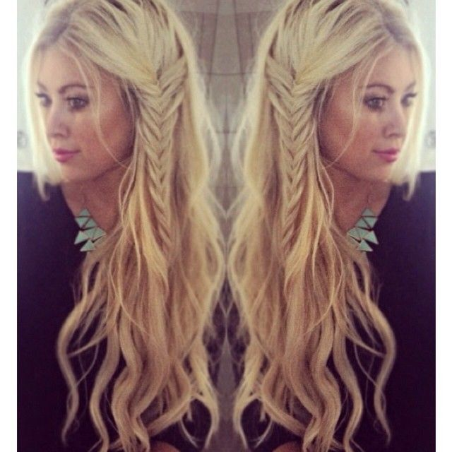 Pretty Beach Waves with Fishtail Braids