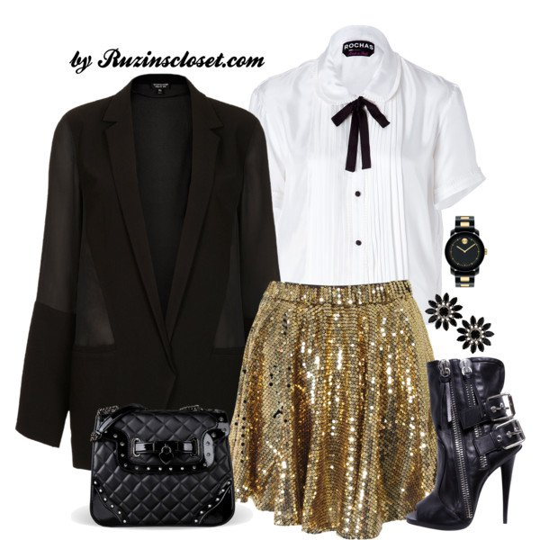 Pretty Party Outfit with White Blouse and Sequined Skirt
