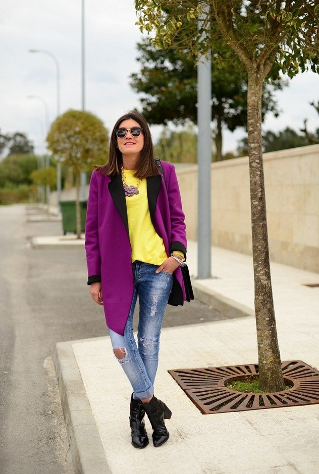 Purple Winter Coat Outfit Idea for 2015