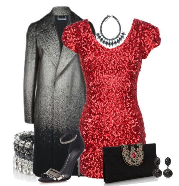 2015 Red Sequined Dress Outfit Idea