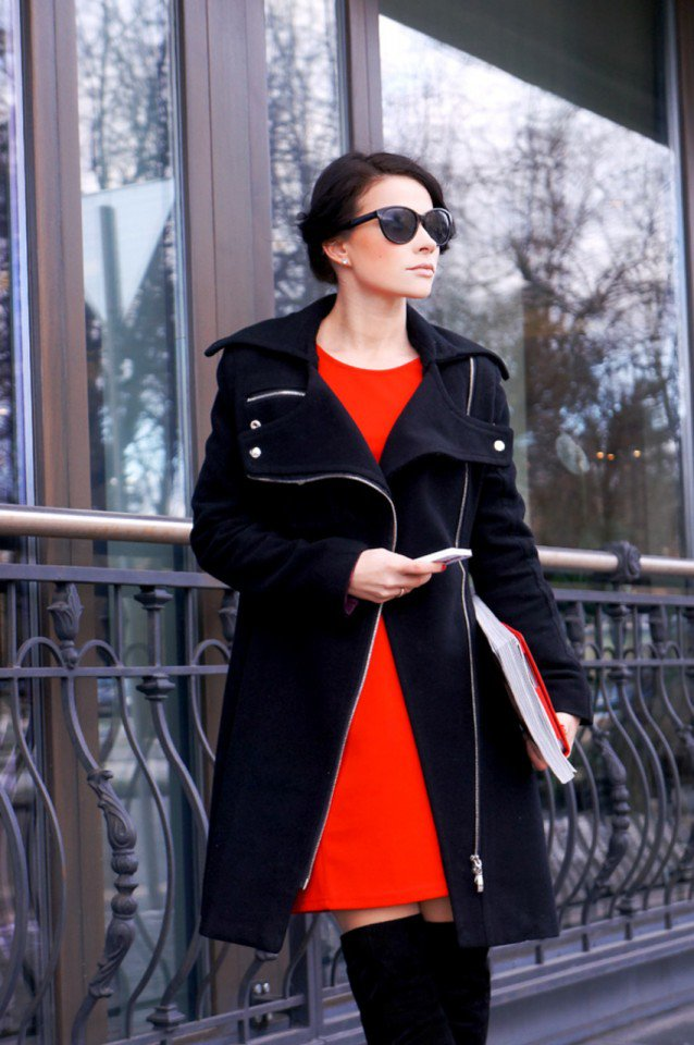 Red Winter Dress and Black Coat