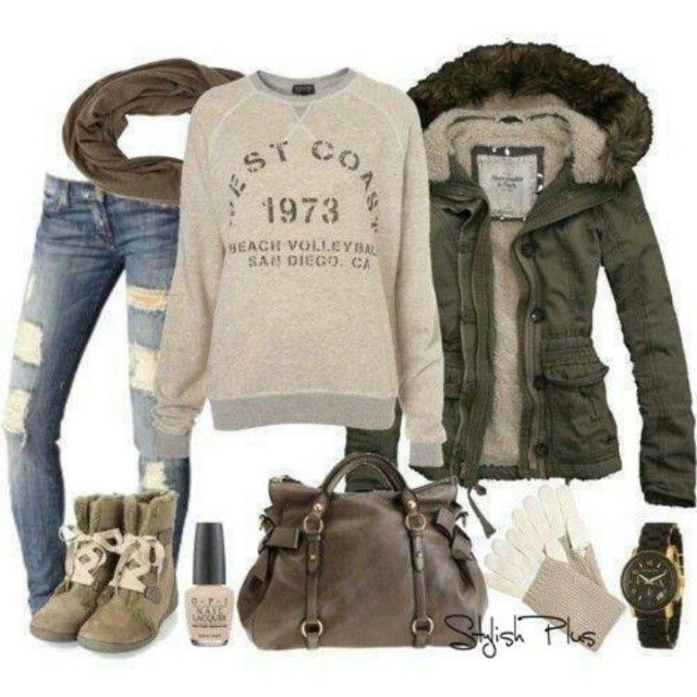 White Knitwear Outfit with Jeans via , Ripped Jeans Outfit Idea for Winter 2015