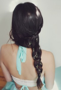 Side Braid with Flowers for Holiday