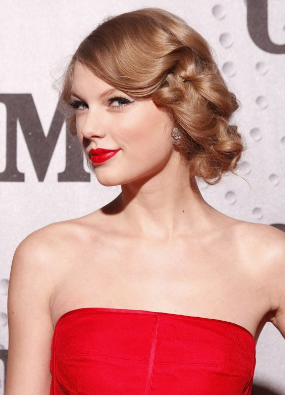Side-swept Updo and Hot Red Lips