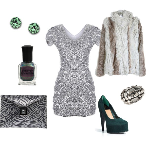 Silver Sequined Dress Outfit with Fur Coat