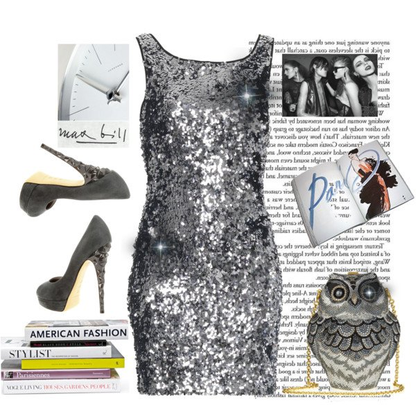 Silvery Grey Sequined Dress Outfit for New Year