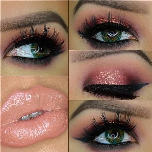Smoky Pink Eye Makeup Idea with Nude Lips