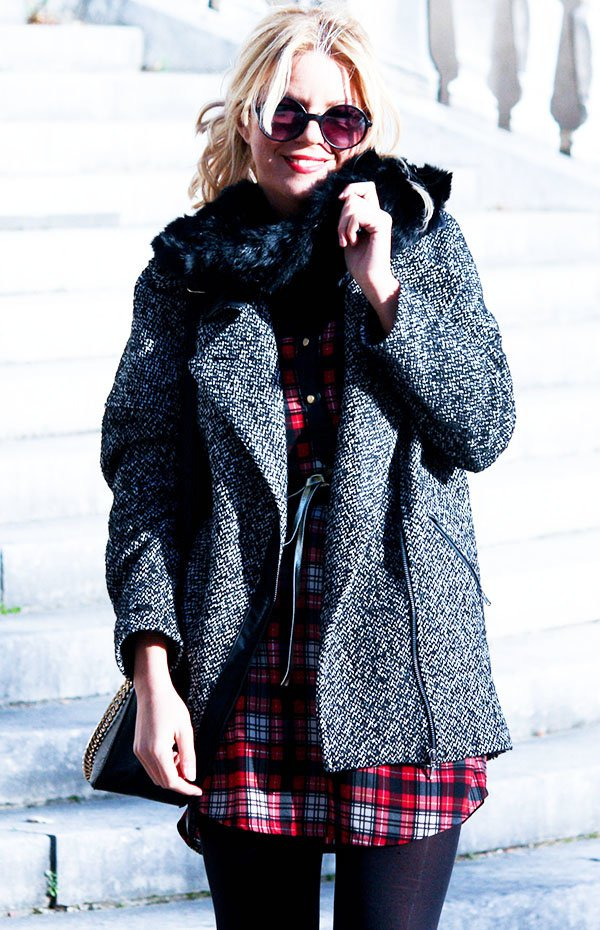 Stylish Grey Tartan Coat Outfit