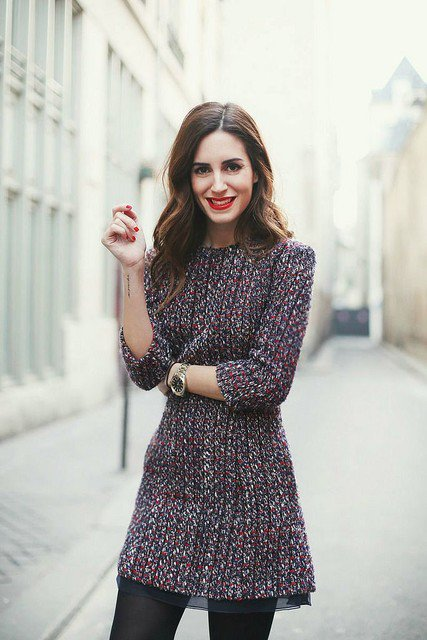 Stylish Tweed Dress Outfit for 2015