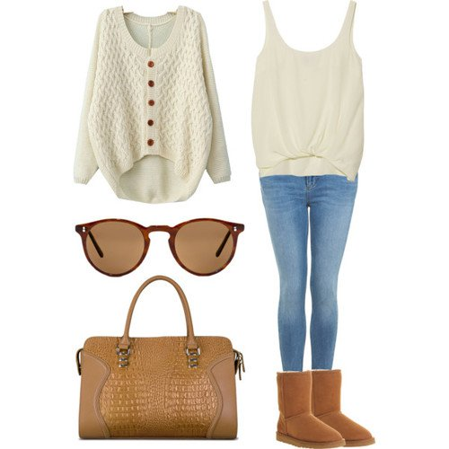 White Knitwear Outfit with Jeans