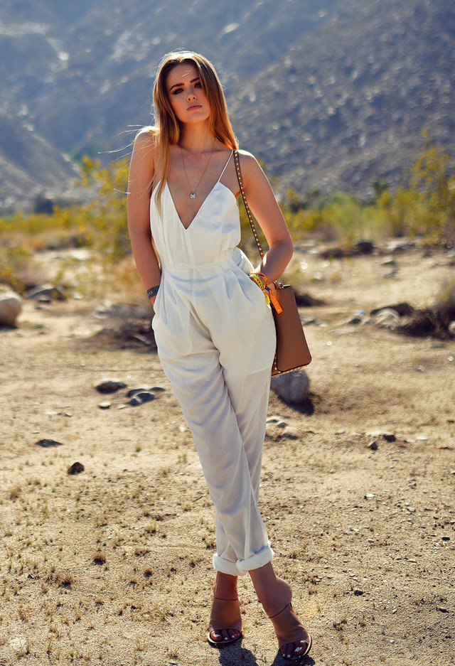 Casual Outfit Idea with White Jumpsuit