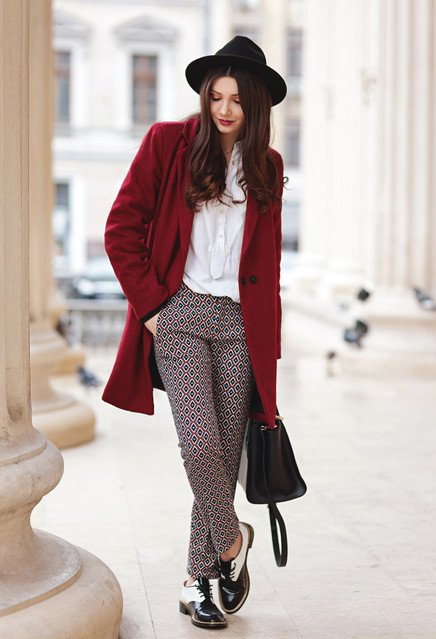 Chic Red Coat Outfit with Printed Pants