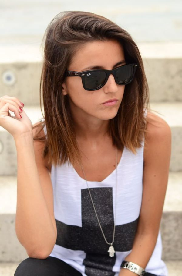 Cool Long Straight Hairstyle for Medium Hair
