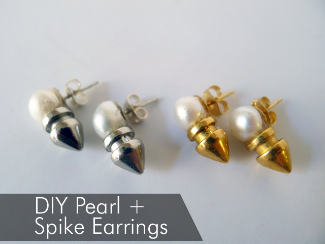 DIY Pearl Earring with Spikes