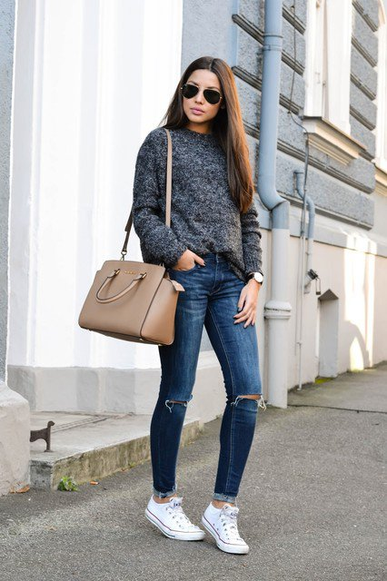 Dark Grey Sweater and Ripped Jeans