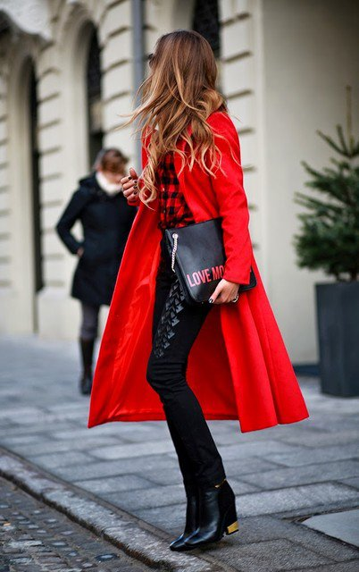 Fashionable Red Coat with Plaid Shirt