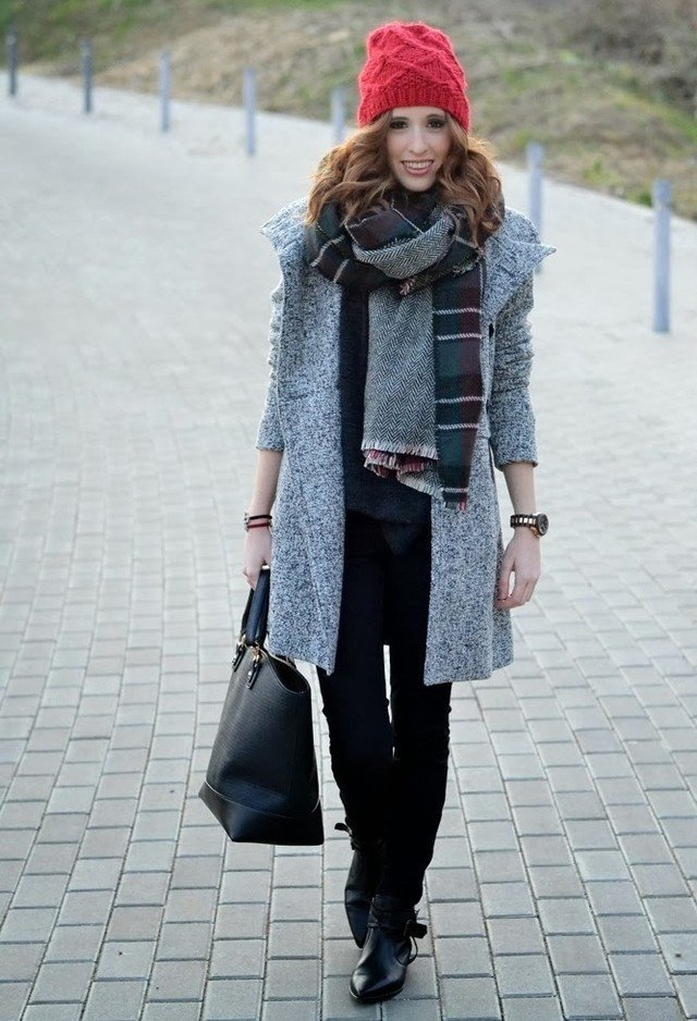 Grey Outfit with Red Knitted Hat