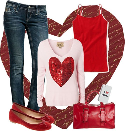 Heart Printed Outfit Idea for Valentine's Day