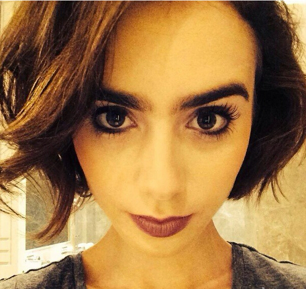 Lily Collins Pretty Bob Hairstyle