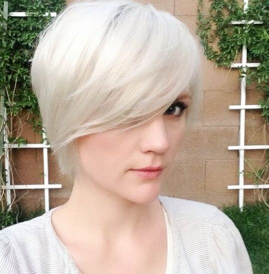Long Pixie Hairstyle with Side-swept Bangs