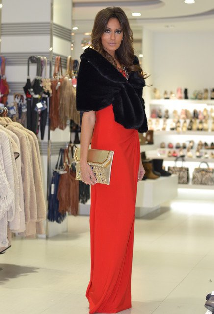Long Red Dress with Black Fur Coat