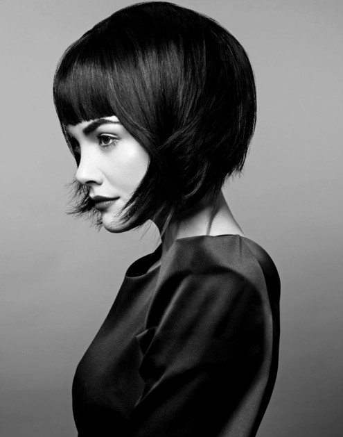 Black Short Hairstyle with Blunt Bangs