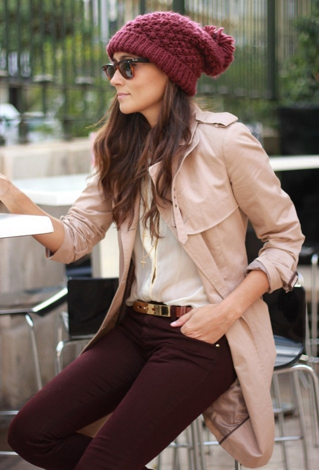 Maroon and Beige Outfit
