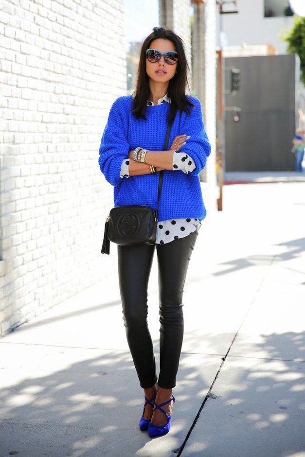 Navy Blue Sweater with Black Leather Pants