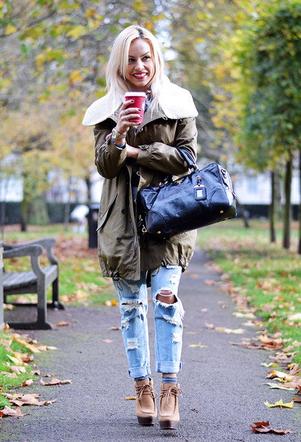 Olive Green Jacket and Blue Jeans