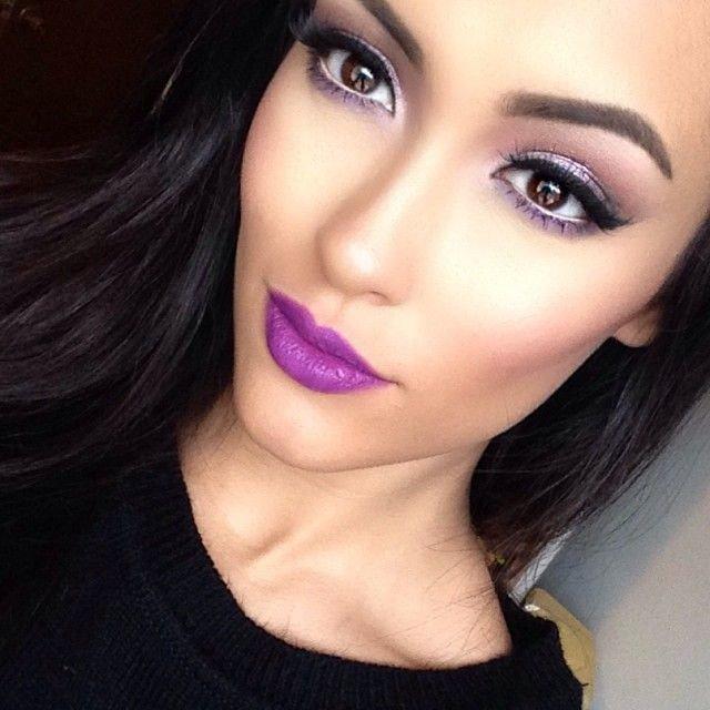 Pretty Purple Lipstick Makeup Idea