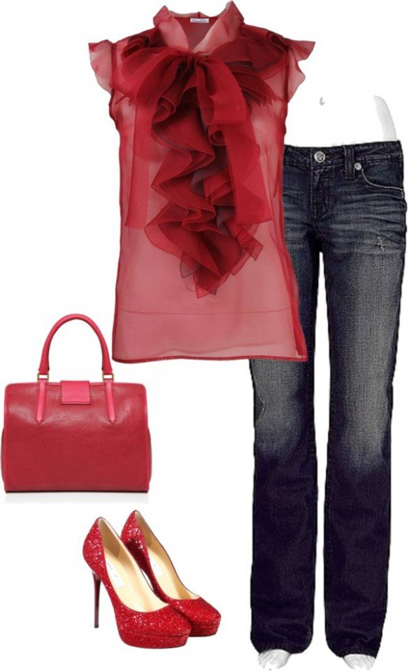 Pretty Red Blouse Outfit for Valentine's Day