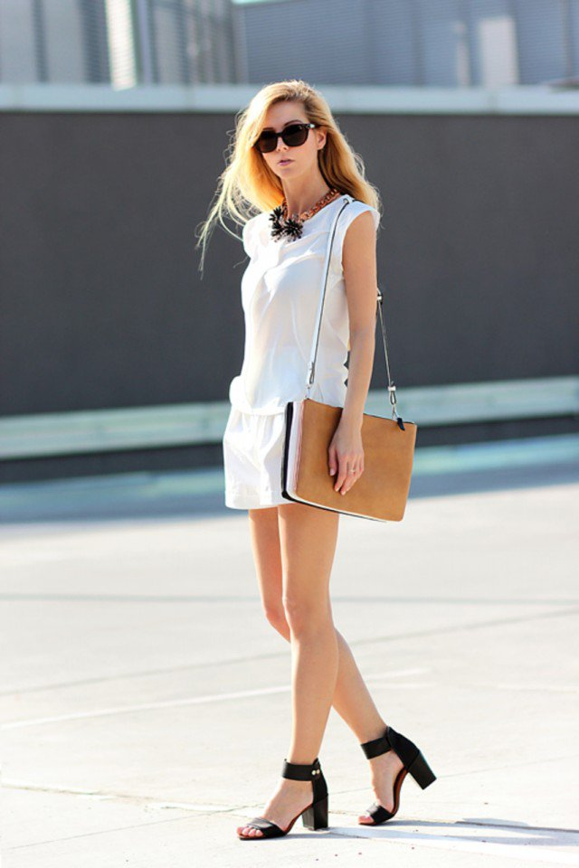 Pretty White Outfit Idea for Summer 2015
