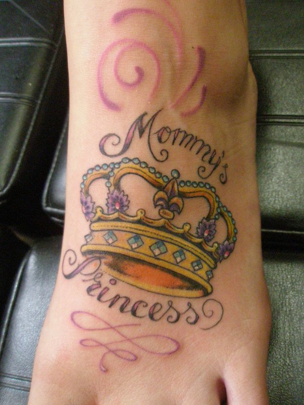 Princess Crown Tattoo on Foot
