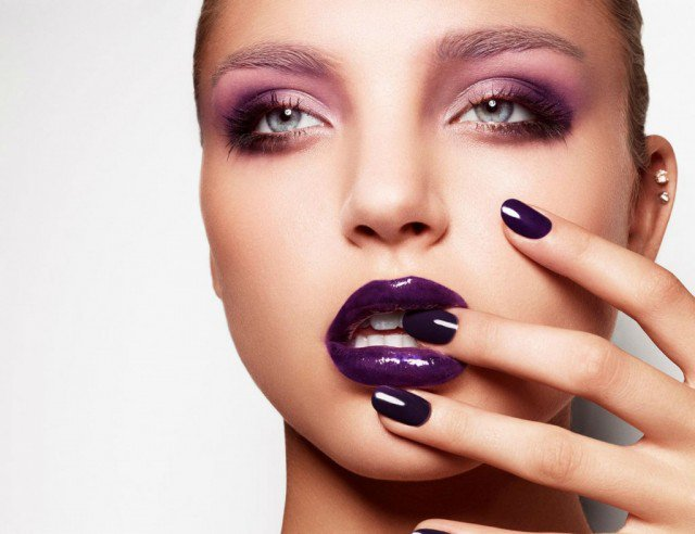 Purple Lips with Pink Eye Shadow