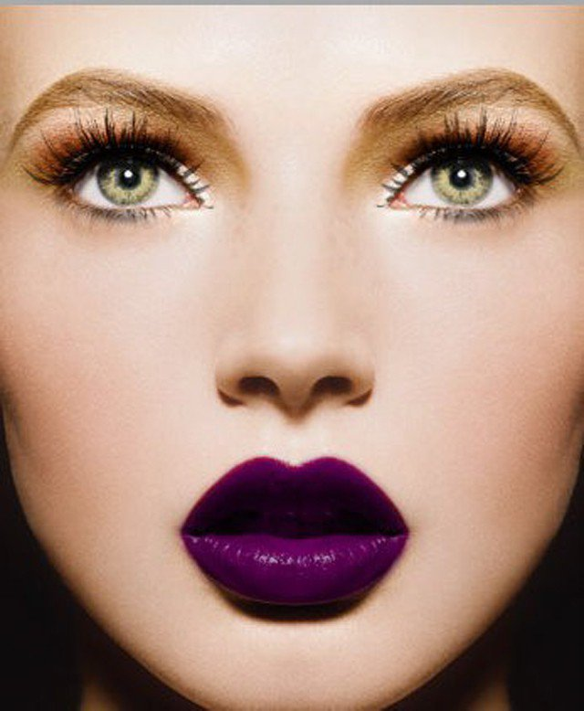 Purple Lipstick with Orange Eye Shadow