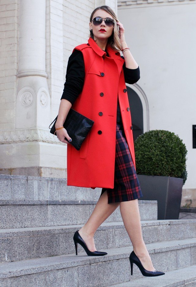 Red Coat and Tartan Skirt