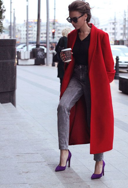Red Coat with High-waisted Jeans