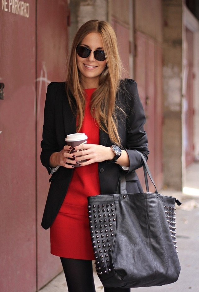 Red Dress with Black Jacket for Valentine's Day