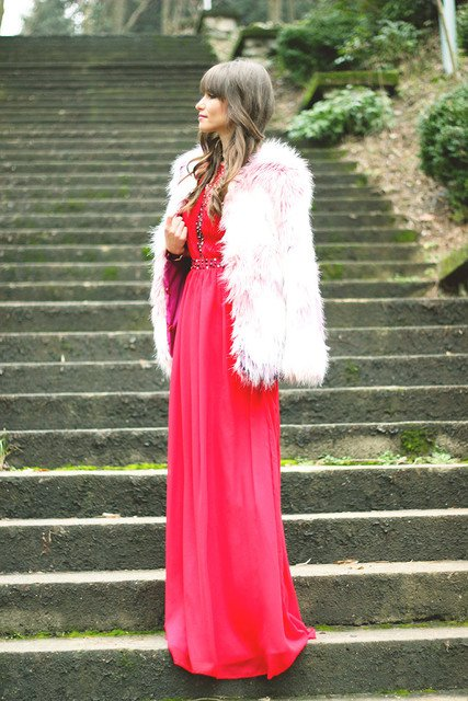 Red Long Dress with White Fur Coat