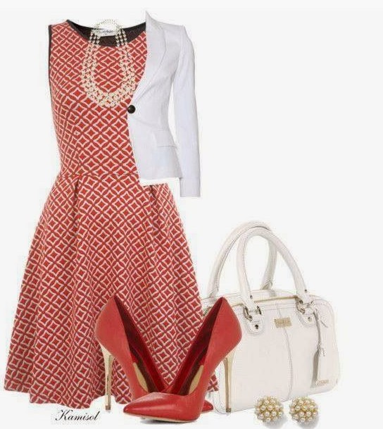 Red Outfit Trends for Ladies, Checked Cocktail Dress, White Suit and Red Pumps