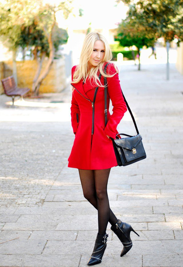 Sexy Red Coat Outfit Idea for 2015