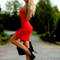 Sexy Red Dress with Black Heels for Valentine's Day