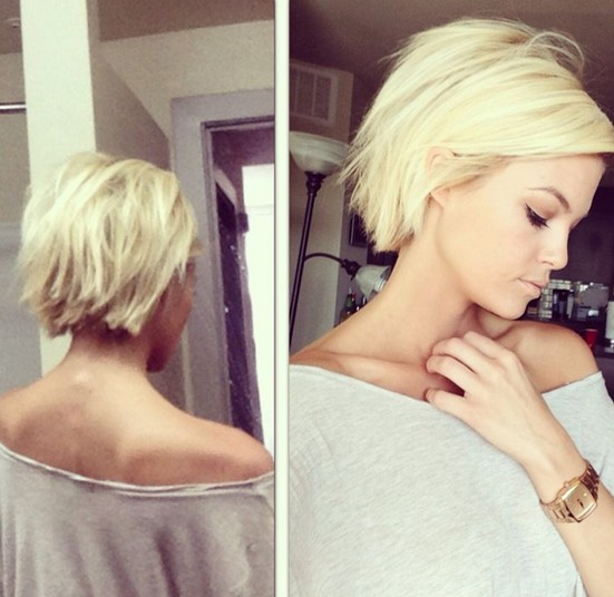 Short Blonde Hair with Blunt Ends