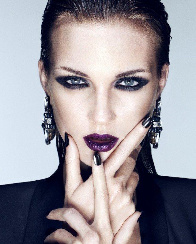 Smoky Eye Makeup Look with Purple Lipstick