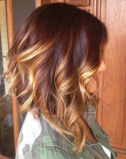 Soft Wavy Red to Blonde Ombre Bob Haircut for Medium Length Hair