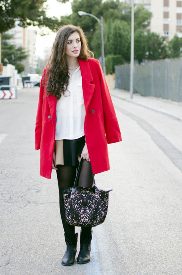 Stunning Red Coat with White Blouse