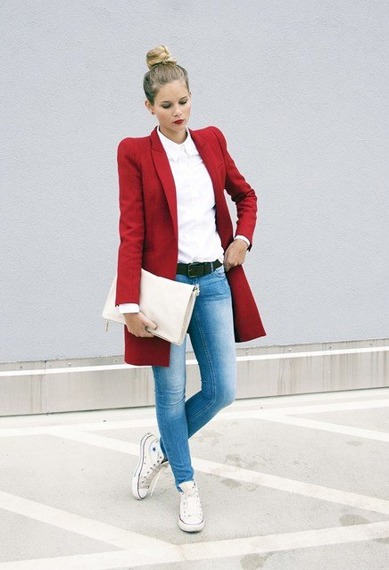 Stylish Red Coat with Comfortable Sneaker