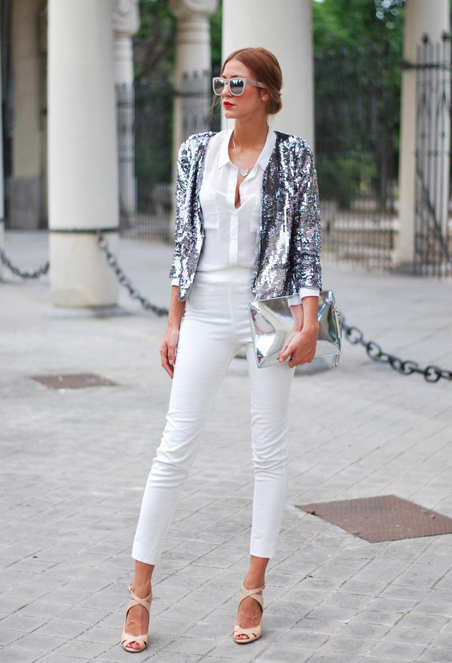 Stylish White Outfit Idea with Silver Coat