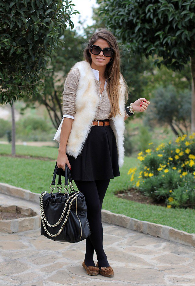 White Fur Coat with Black Skirt